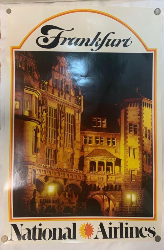 Vintage 70's NATIONAL AIRLINES Frankfurt Germany Travel Poster