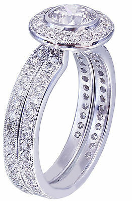 GIA H-VS2 18K White Gold Round Cut Diamond Engagement Ring and Band Bezel 1.55ct 5