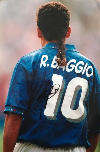 Roberto Baggio in person signed Italy 12x8 photo Image G UACC AFTAL Approved COA