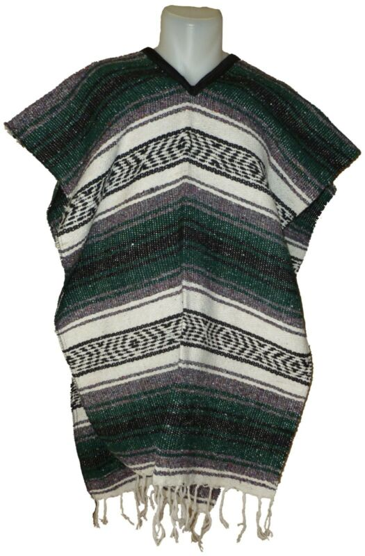 Traditional Mexican Poncho - GREEN - ONE SIZE FITS ALL Blanket Serape Gaban E8