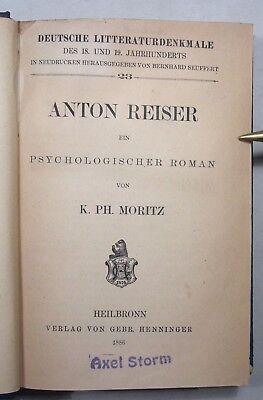 KARL PHILIPP MORITZ: ANTON REISER, Hrsg. Ludwig Geiger, EA 1886