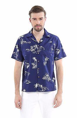 Hula Flamingo - Men 100% Cotton Aloha Hawaiian Shirt Blue Navy Map Fish Flamingo Hula