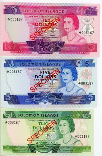 Solomon Islands 2,5,10 dollars 1979, Set of 3 note, QEII. UNC, Specimen S/N: 167