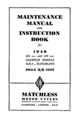 1949 Matchless 49/G3L & 49/G80L maintenance manual
