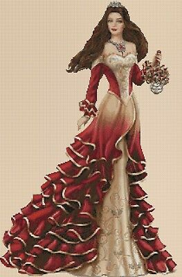 Elegant Lady in Red Dress Long Counted Cross Stitch COMPLETE KIT No.1-156p