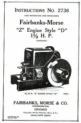 Fairbanks Morse Z D 1.5 2hp Gas Engine Motor Book Manual Hit Miss Hit Miss 2736