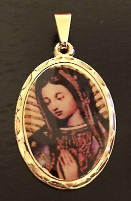 - La Virgen De Guadalupe Medalla Virgin Mary Oval Medal Goldfield- Laminated
