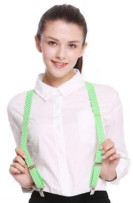 Hosenträger Suspenders Karneval Halloween hellgrün weiße Punkte BB-040LG (Light Green Hosenträger)