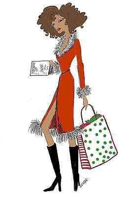 Christmas Shopper Cards African American Diva