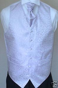 Swirl-Mens-Boys-Wedding-Waistcoat-Cravat-Set-Lilac