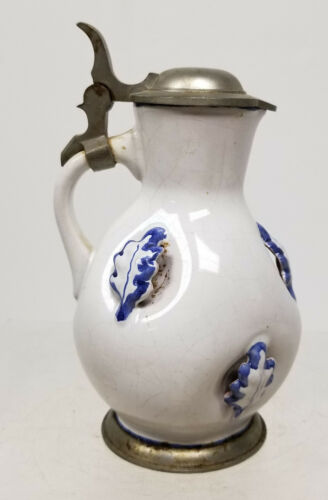 Antique Style Modern West Germany Stein Delft Faience Pitcher BLack Starr Gorham