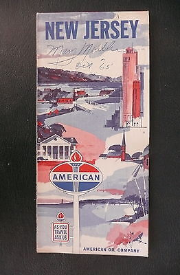 1964 New Jersey  road  map American Oil gas metro New York City