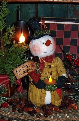 Primitive Christmas Snowman Candle Doll Paper Pattern #245