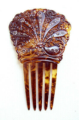 Victorian Wigs, Hair Pieces  | Victorian Hair Jewelry Victorian hand painted hair comb faux tortoiseshell hair ornament $90.00 AT vintagedancer.com