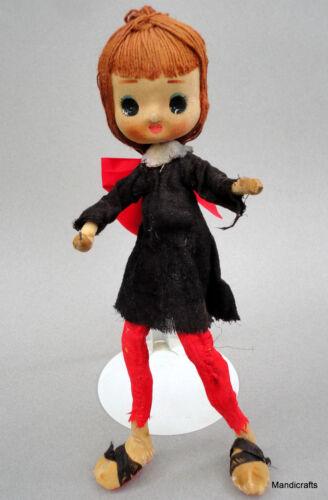 Forsum Glamor Big Eye Girl Pose Doll 11in Paper Mache Cloth String Hair Japan