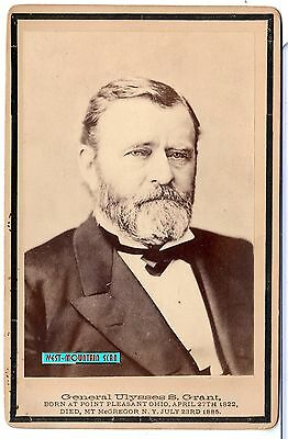 PRESIDENT U. S. GRANT MOURNING CABINET CARD 1885 BLK BACK NOTE: BLACK BORDER