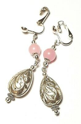 Long Silver Rose Quartz Clip-On Earrings Filigree Style Drop Dangle Gemstone -
