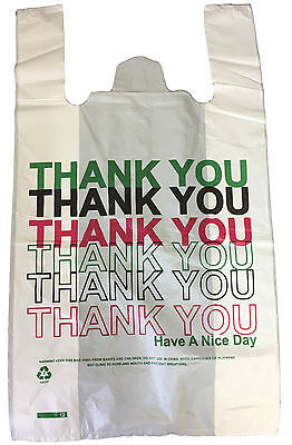 100 THANKYOU CARRIER BAGS PLASTIC VEST STRONG 11
