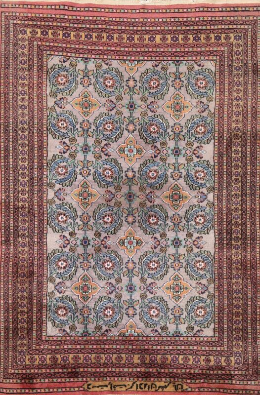 Vintage Floral Gray Turkoman Oriental Area Rug Gray Wool Hand-knotted 3x5 Carpet