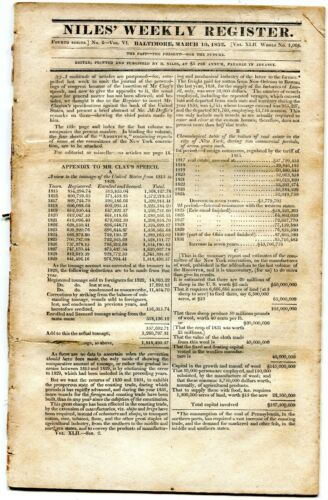 1832 NILES WEEKLY NEWSPAPER REGISTER BALTIMORE MD 12PG