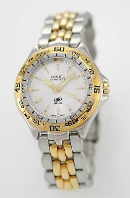 Fossil Blue Watch Mens Stainless Steel Gold Silver 50m Battery White Quartz