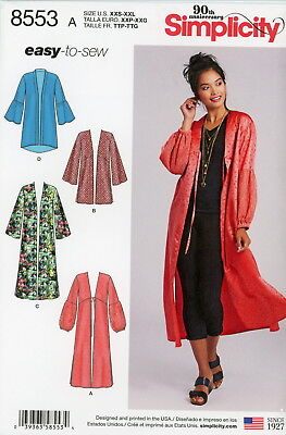 Simplicity Sewing Pattern 8553 Women's XXS-XXL Kimonos easy-to-sew