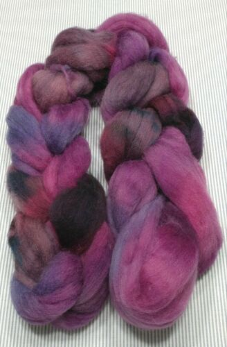 Superwash Wool Combed Top Roving Spinning Handpainted USA NWT Purples 5