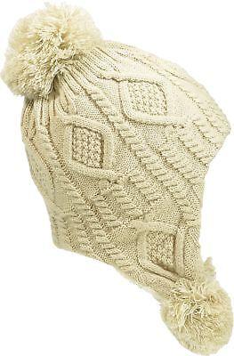 Aprileo Women Ear Flap Hat Fleece Lined Knitted Pompom Cable Beanie