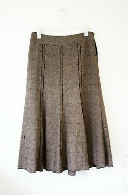 PER UNA by M&S taupe brown patterned maxi skirt 12 R 30% wool - Needs new zip