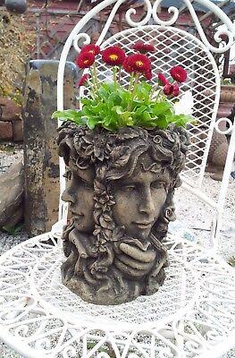 Vase Übertopf Jugendstil Frau Fee 4 Gesichter Look Kunst Sandstein B 13 GRAU