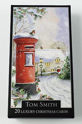 Christmas Cards Postbox 2 Designs 20 Pack Luxury Xmas Tom Smith Quality Verse