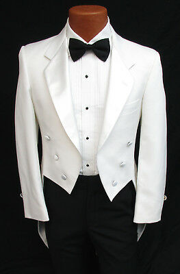 Halloween Costume Tailcoat (Men's White Tuxedo Tailcoat with Satin Notch Lapels Vampire Halloween Costume )