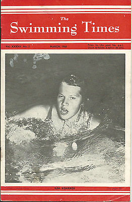 The Swimming Times magazine-1960-March. Ilsa Konrads,Johnny Weismuller article