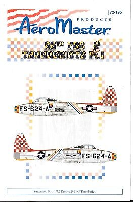 Aeromaster Colorato 86th Fbg F-84G Thunderjet Decalcomanie Parte i in 1/72 195