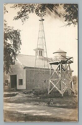 Collie Dog—Water Tower & Windmill RPPC Halifax Massachusetts—Antique Farm Photo