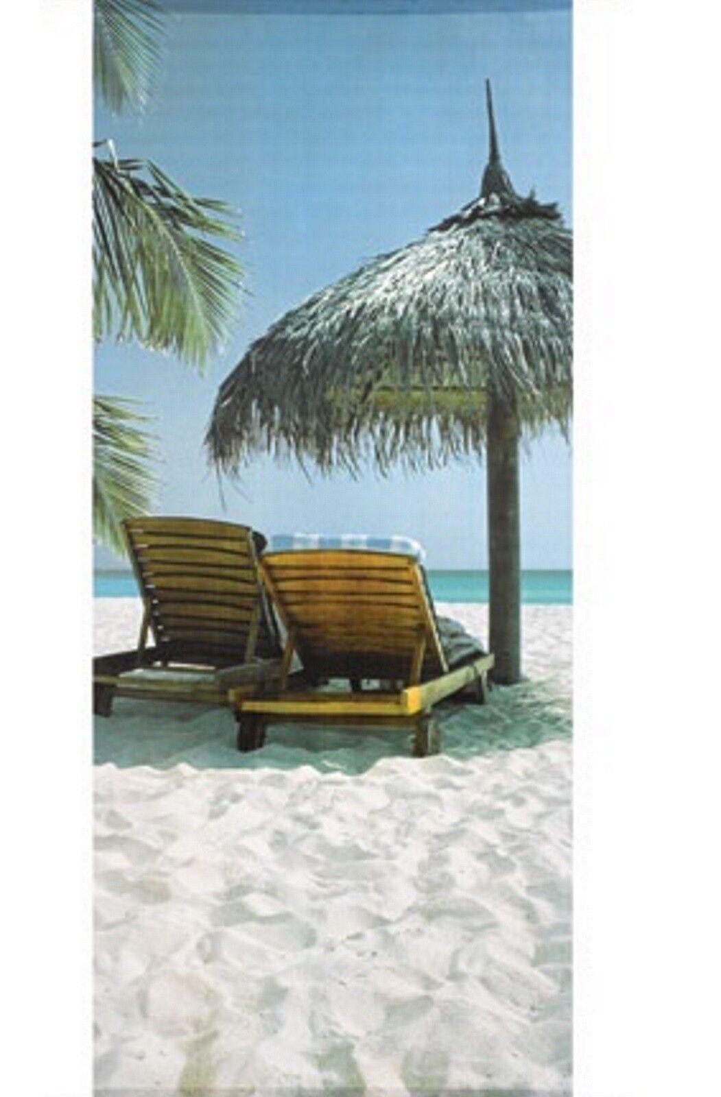 Textilposter Karibik Urlaub Strand  Banner Poster aus Stoff 75x180cm Wanddeko