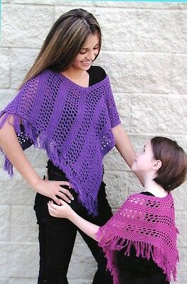 Easy Lace Poncho Fiber Trends Knitting Pattern AC-69 Adults & Kids
