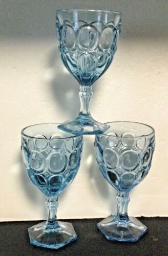 LOT Fostoria Glass MOONSTONE LIGHT BLUE Water Goblets  (3)
