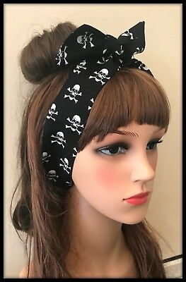 Skulls Crossbones Headband Hairband Bandana Hair Neck Scarf Head Tie Band Pirate (Pirate Headband)