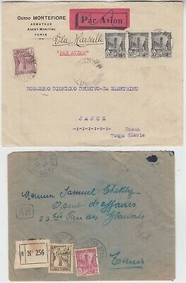 TUNISIA 1930 air cover *TUINS-YUGOSLAVIA* & 1934 registered local cover