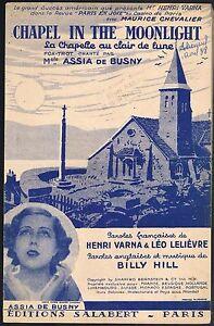 """CHAPEL in the MOONLIGHT Paris en Joie Paroles Henri VARNA et Léo LELIÈVRE 1937 - France - Commentaires du vendeur : """"Partition d'occasion, petites déchirures sur les bordures, la partition est complte"""" - France"""