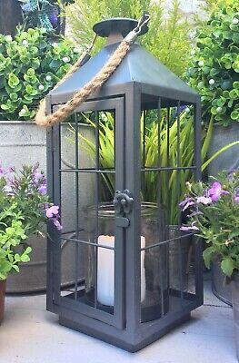 Large Grey Metal French Vintage Style Lantern Candle Holder Home Garden 35cm