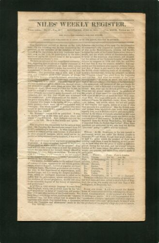 1825 NILES WEEKLY REGISTER BALTIMORE MD GEN LAFAYETTE ARRIVED AT BOSTON ETC 12PG