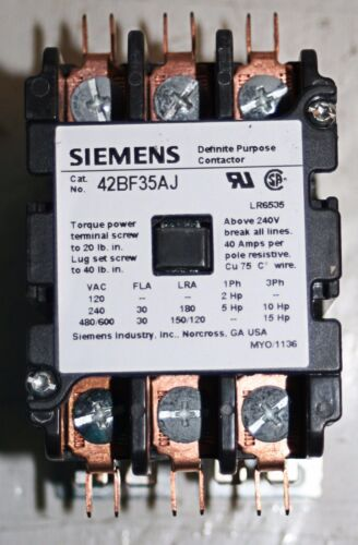24V 30A 3 Pole Definite Purpose Contactor Furnas / Siemens 42BF35AJ