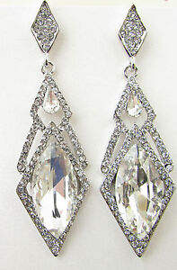 Silver Art Deco Drop Earrings Vintage 1920s Great Gatsby Bridal Diamante 30s B21