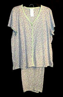 CHARTER CLUB 100% COTTON KNIT PAJAMAS PJS SET TOP/CROP CAPRI ANKLE PANTS~3X~NEW