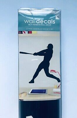 Lot 26 Studio Baseball Player Batter Black Silhouette Walldecal Wall - Baseball Wall Decor