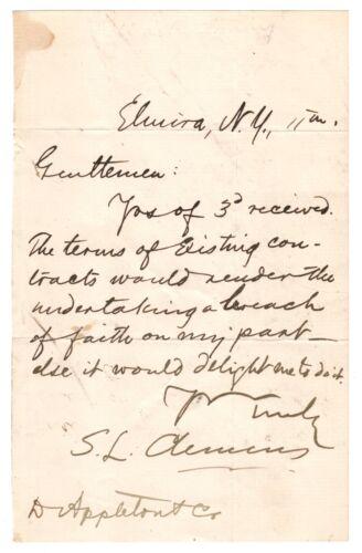 Samuel L. Clemens (mark Twain) - Autograph Letter Signed - Turns Down Publisher