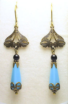 Art Nouveau Art Deco Vintage Style Czech Blue Turquoise Glass Earrings