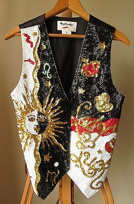 Fashion Fantasy Lady Luck Star Sun Sequin Black Snap Casino Vest - Size Small](Lady Luck Costume)